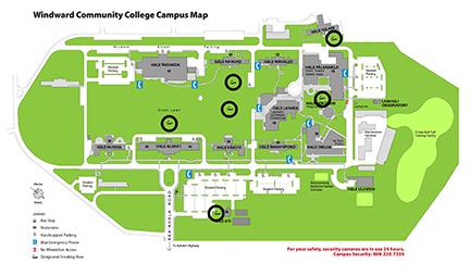 Map of smoking areas around WCC campus;