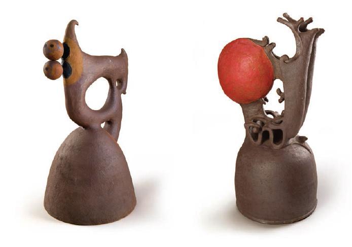 "Harue McVay's ceramic artwork: ""35.5"" x 21.5"" x 18"" (left) and 30"" x 15"" x 15"" (right) – Courtesy of Bonnie Beatson"