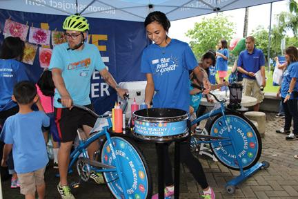 Participants ride smoothie and spin art bikes – Debbra Baetz