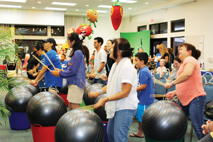 Participants drum and move to the rhythm of Drums Alive by Karen Watanabe – Debbra Baetz