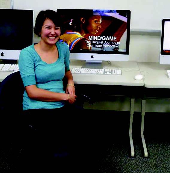Lauren Kawana shows off the website for the film Mind/Game – Itzel Contreras Mendez