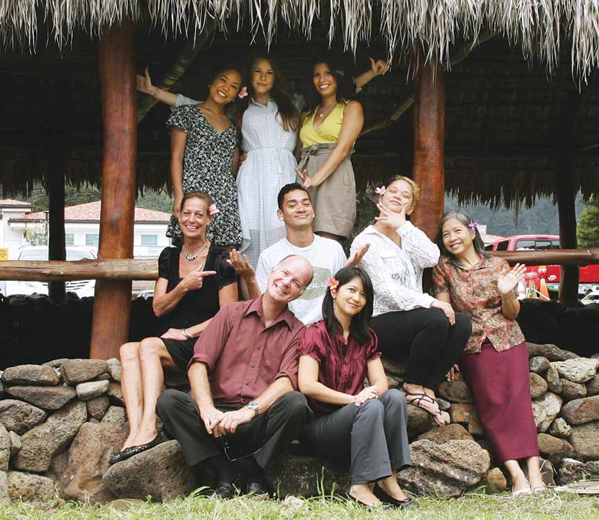 Spring 2016 staff (clockwise from top left:) Deborah Higa, Gracie Berkley, Itzel Contreras Mendez, Dutches Richards, lab assistant Armi Habal, adviser Kimberlee Bassford, lab assistant Patrick Hascall, Cynthia Lee Sinclair and Ka'ainoa Fernandez (not pictured: Zachary Rupp-Smith) – photo by Patrick Hascall