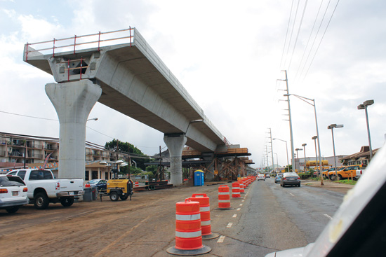 Rail construction progresses along Kamehameha Highway in Aiea, blocking off two lanes and disrupting small businesses along the highway – Courtest of H.A.R.T.